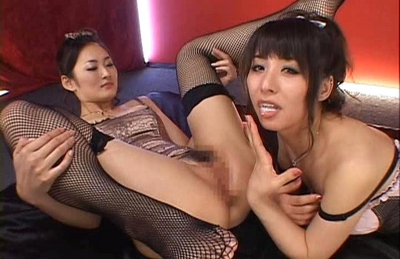 Yuka Osawa and Risa Murakami in sexy lingerie giving blowjobs