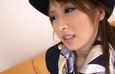 Yuzu Shiina Asian model is hot in stewardess uniform