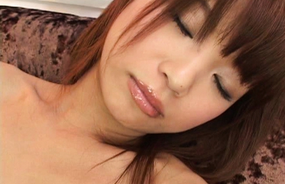Aoi Amamiya Lovely Asian doll pokes her beaver with a dildo