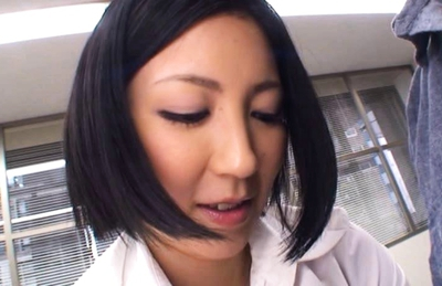Ryo Sena Naughty Asian model masturbates on the table in the office