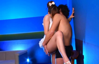 Rio Hot Asian beauty in white lingerie gives a blowjob