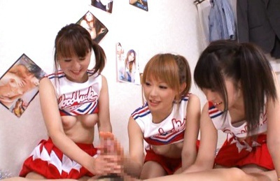 Yuu Konishi and other horny chicks in cheerleader outfits sucking and riding