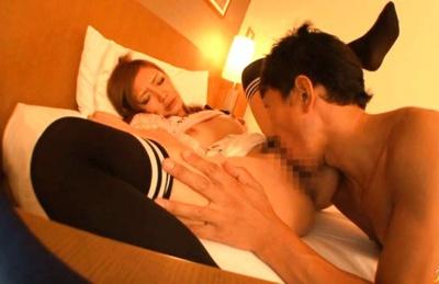 Mio Kuraki Asian doll in sexy stockings gets fucked by horny guy