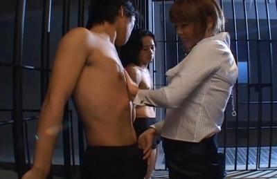 Aya Fujimoto Asan doll gives a blowjpg to her guy in jail