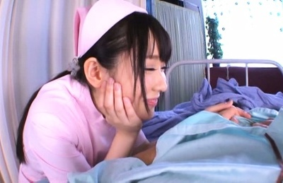 Very sexy nurse Rin Suzune deepthroats and rides cock on pov