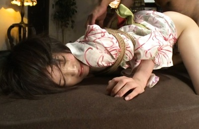 Sexy tied up milf in kimono Towa Aragaki gets toyed and banged