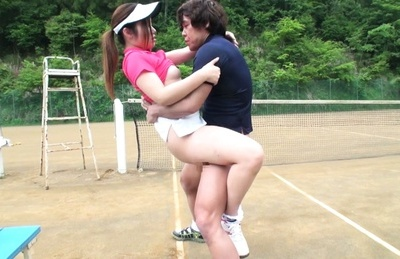 Sweet Japanese tennis player Aya Shiomi rides hard pecker outdoors