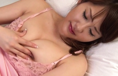 Pretty Asian milf in pink lingerie Misa Kudou masturbates her pussy