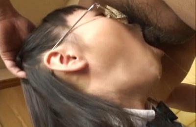Japanese AV model is a schoolgirl who gives blowjobs