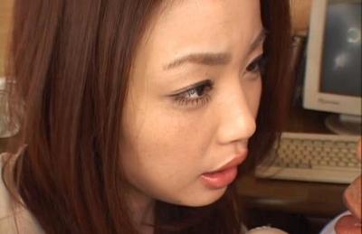 Risa Kasumi Asian model rides a huge hard cock