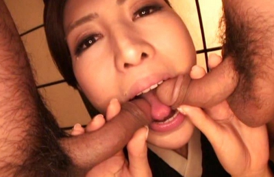 Julia Nanase Asian doll fondles and sucks her friends hard cocks
